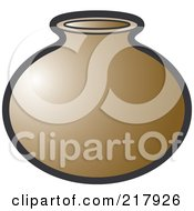 Royalty Free RF Clipart Illustration Of A Brown Pot