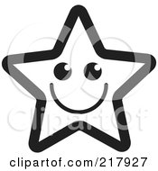 Royalty Free RF Clipart Illustration Of A Happy Outlined Star