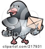 Royalty Free RF Clipart Illustration Of A Gray Pigeon Holding An Envelope 3 by Lal Perera