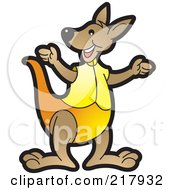Royalty Free RF Clipart Illustration Of A Gesturing Kangaroo In Yellow by Lal Perera