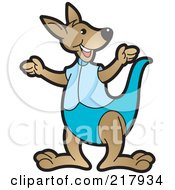 Royalty Free RF Clipart Illustration Of A Gesturing Kangaroo In Blue by Lal Perera