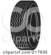 Royalty Free RF Clipart Illustration Of A Single Black And White Auto Tire by Lal Perera