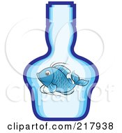 Royalty Free RF Clipart Illustration Of A Blue Koi Fish In A Bottle