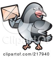 Royalty Free RF Clipart Illustration Of A Gray Pigeon Holding An Envelope 4 by Lal Perera