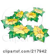 Royalty Free RF Clipart Illustration Of Yellow Flowers And Leaves 1