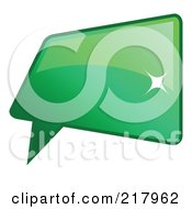 Royalty Free RF Clipart Illustration Of A Shiny Green Square Word Chat Or Speech Balloon Icon