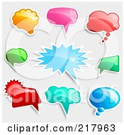 Royalty Free RF Clipart Illustration Of A Digital Collage Of Shiny Colorful Word Chat And Speech Balloon Icons