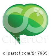 Royalty Free RF Clipart Illustration Of A Shiny Green Word Chat Or Speech Balloon Icon