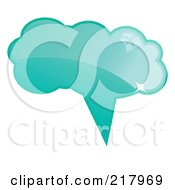 Royalty Free RF Clipart Illustration Of A Shiny Turquoise Word Chat Or Speech Balloon Icon by KJ Pargeter