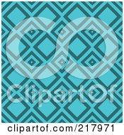 Royalty Free RF Clipart Illustration Of A Retro Turquoise Diamond Pattern Background