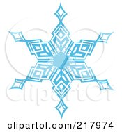 Royalty Free RF Clipart Illustration Of A Beautiful Ornate Blue Icy Snowflake Design Element 4