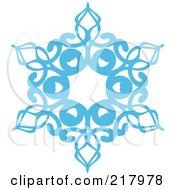Beautiful Ornate Blue Icy Snowflake Design Element - 6