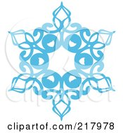 Royalty Free RF Clipart Illustration Of A Beautiful Ornate Blue Icy Snowflake Design Element 6