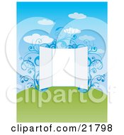 Clipart Picture Illustration Of A Blank Open Presentation Board With Blue Vines On A Green Hill Under A Cloudy Blue Sky