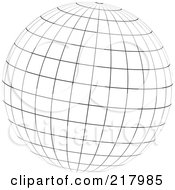 Royalty Free RF Clipart Illustration Of A Black And White Wire Frame Sphere Design Element 4 by KJ Pargeter