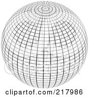 Royalty Free RF Clipart Illustration Of A Black And White Wire Frame Sphere Design Element 1 by KJ Pargeter