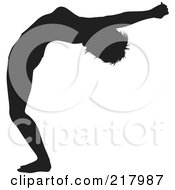 Royalty Free RF Clipart Illustration Of A Black Silhouetted Woman Doing A Yoga Pose Bending Backwards