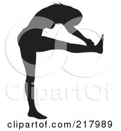 Royalty Free RF Clipart Illustration Of A Black Silhouetted Woman Doing A Yoga Pose One Leg Up Leaning Forward