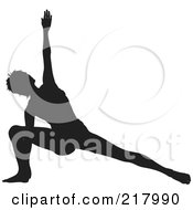 Royalty Free RF Clipart Illustration Of A Black Silhouetted Woman Doing A Yoga Pose Lunging With One Arm Up