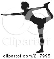 Royalty Free RF Clipart Illustration Of A Black Silhouetted Woman Doing A Yoga Pose Holding Her Leg Up And Reaching Out