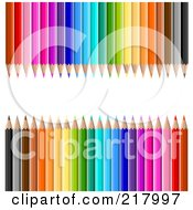 Royalty Free RF Clipart Illustration Of A White Bar Framed By Colorful Pencils