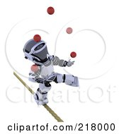Royalty Free RF Clipart Illustration Of A 3d Robot Juggling And Walking A Tight Rope