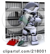Royalty Free RF Clipart Illustration Of A 3d Robot Reading Files In Archives by KJ Pargeter
