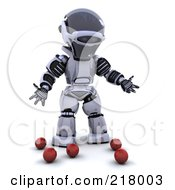 Royalty Free RF Clipart Illustration Of A 3d Robot Standing By Dropped Juggling Balls