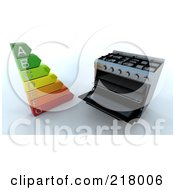 Royalty Free RF Clipart Illustration Of A 3d Range Oven With An Energy Rating Guide by KJ Pargeter