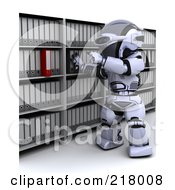 Royalty Free RF Clipart Illustration Of A 3d Robot Filing Away Binders by KJ Pargeter