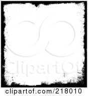Royalty Free RF Clipart Illustration Of A Detailed Black Grungy Border Around White Space