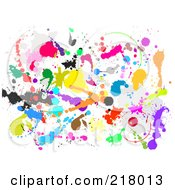 Royalty Free RF Clipart Illustration Of A Background Of Colorful Paint Splatters On White