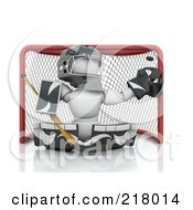 Royalty Free RF Clipart Illustration Of A 3d White Character Ice Hockey Netminder by KJ Pargeter