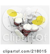Royalty Free RF Clipart Illustration Of A 3d White Character Playing A Drum Set by KJ Pargeter