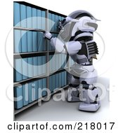 Royalty Free RF Clipart Illustration Of A 3d Robot Selecting A Binder From Archives