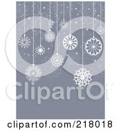 Royalty Free RF Clipart Illustration Of A Gray Christmas Background With Suspended White Snowflakes
