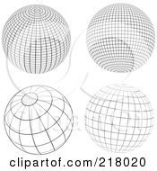 Digital Collage Of Black And White Wire Frame Sphere Design Elements