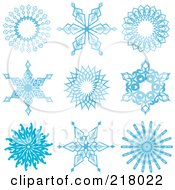 Royalty Free RF Clipart Illustration Of A Digital Collage Of Beautiful Ornate Blue Icy Snowflake Design Elements