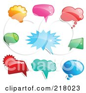Royalty Free RF Clipart Illustration Of A Digital Collage Of Shiny Colorful Word Chat Or Speech Balloon Icons by KJ Pargeter