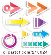 Royalty Free RF Clipart Illustration Of A Digital Collage Of Colorful Arrow Design Elements by KJ Pargeter