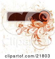 Clipart Picture Illustration Of A Brown Text Box With Curly Orange Vines