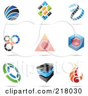 Royalty Free RF Clipart Illustration Of A Digital Collage Of Abstract Logo Icons With Shadows 11