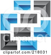 Royalty Free RF Clipart Illustration Of An Abstract Blue And Black Wall Logo Icon 8 by cidepix