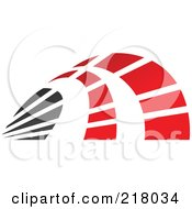 Royalty Free RF Clipart Illustration Of An Abstract Red And Black Curve Logo Icon