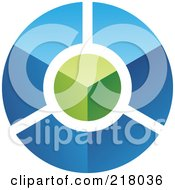 Royalty Free RF Clipart Illustration Of An Abstract 3d Blue Circle With A Green Top Logo Icon