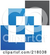 Abstract Blue White And Black Cubic Logo Icon Background