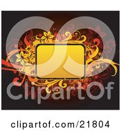 Clipart Picture Illustration Of A Yellow And Orange Blank Text Space With Yellow Orange And Brown Vines And Flowers On A Dark Background