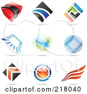 Royalty Free RF Clipart Illustration Of A Digital Collage Of Abstract Logo Icons With Shadows 1
