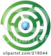 Royalty Free RF Clipart Illustration Of An Abstract Green And Blue Maze Logo Icon Design by cidepix