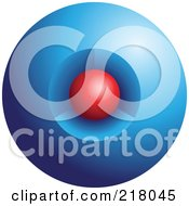 Royalty Free RF Clipart Illustration Of An Abstract 3d Red Orb In A Blue Orb Logo Icon Design by cidepix